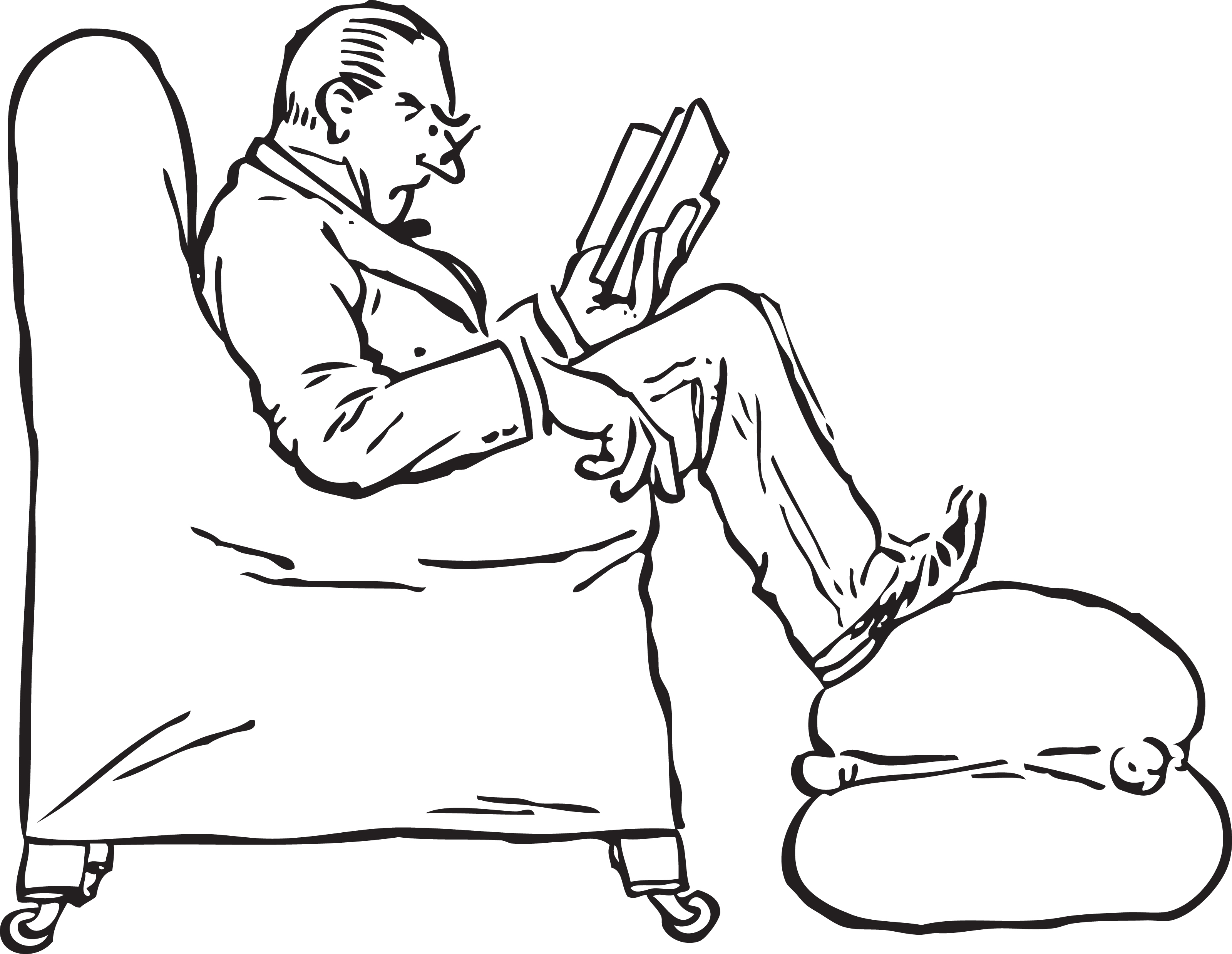 Man sitting in chair drawing - Free Retro Clipart Illustration Of Man Reading Book While Sitting In Chair