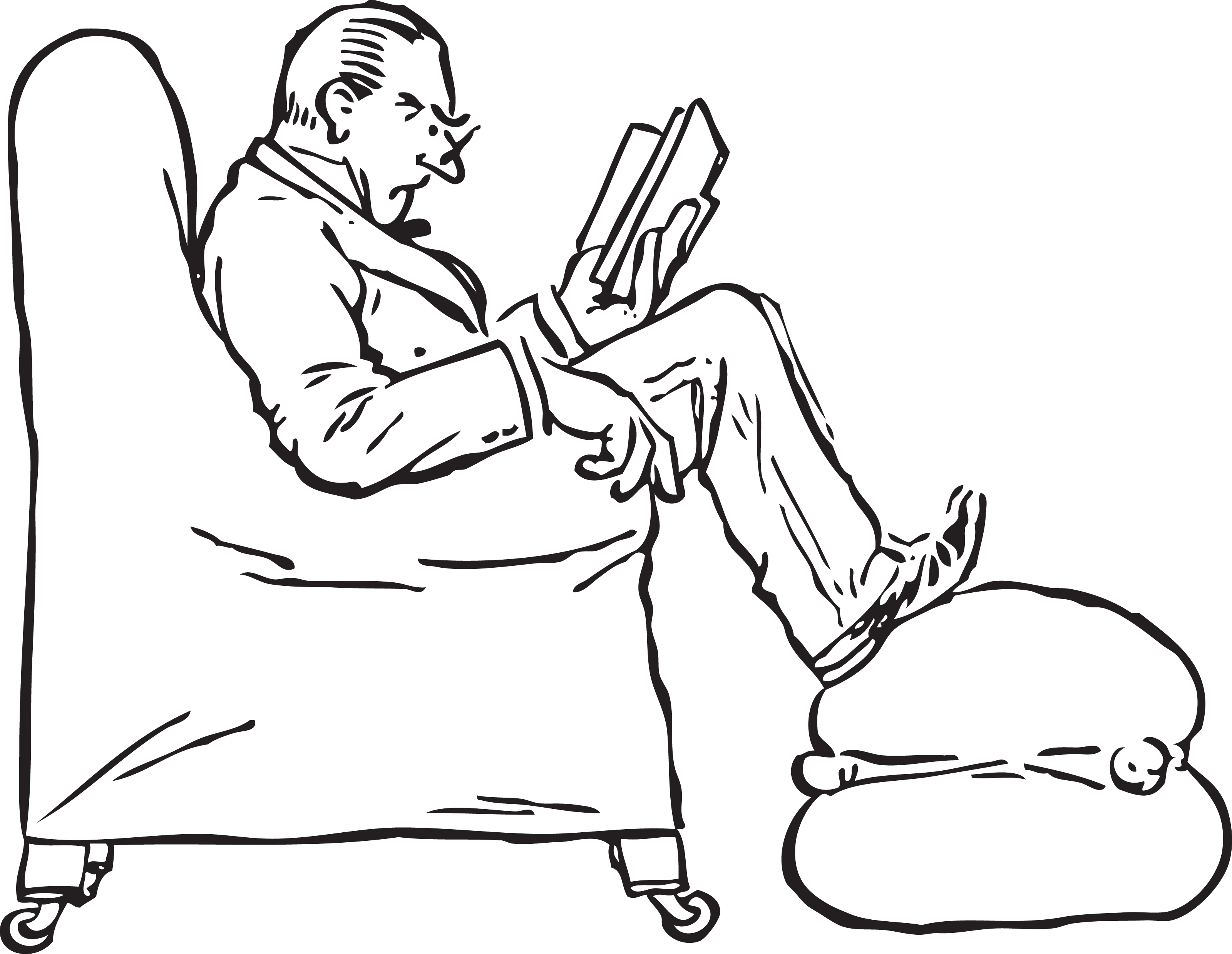 Black and white chair drawing - Free Retro Clipart Illustration Of Man Reading Book While Sitting In Chair 000178