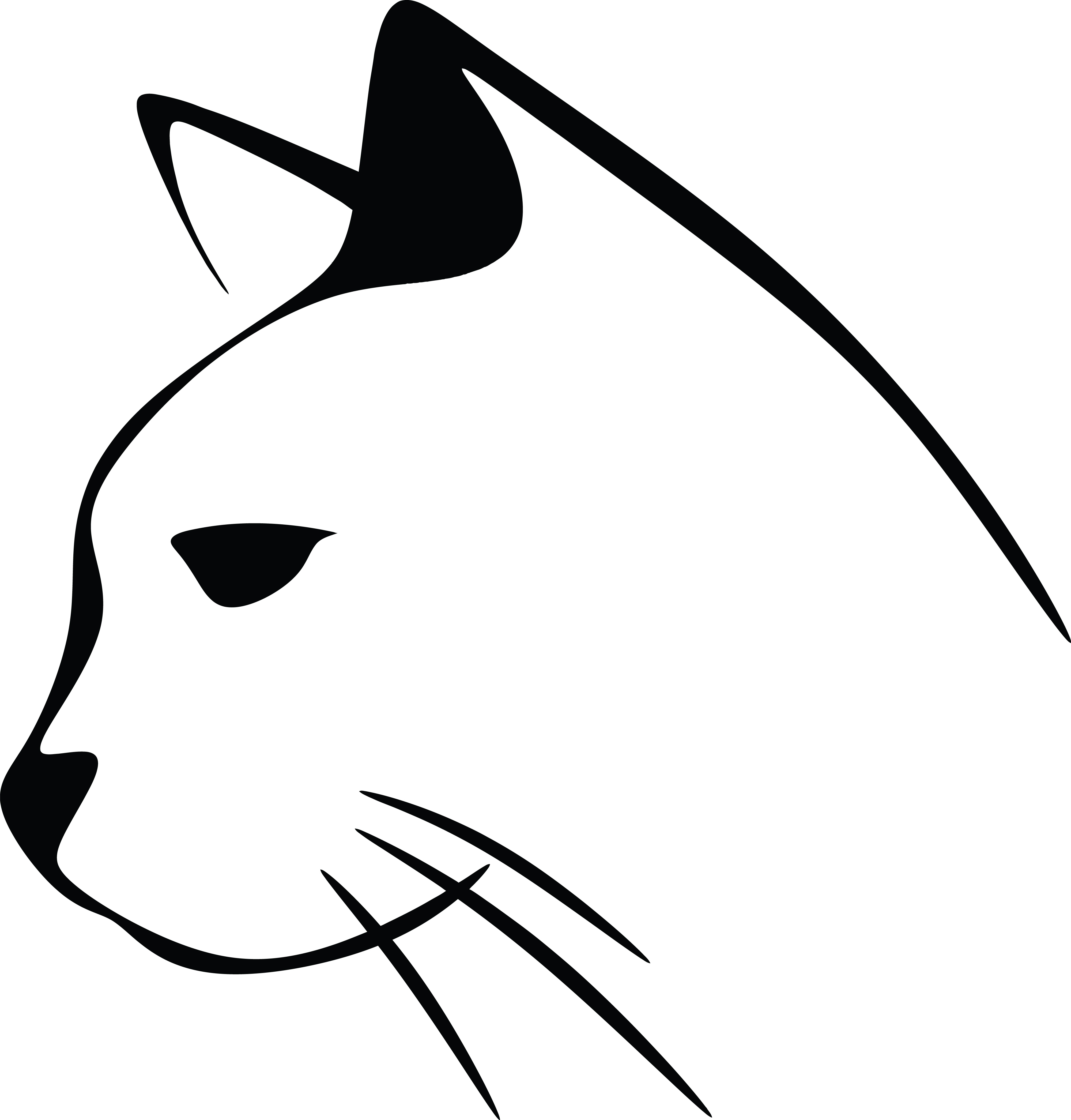 Free Clipart Of A Black and White Cat Head
