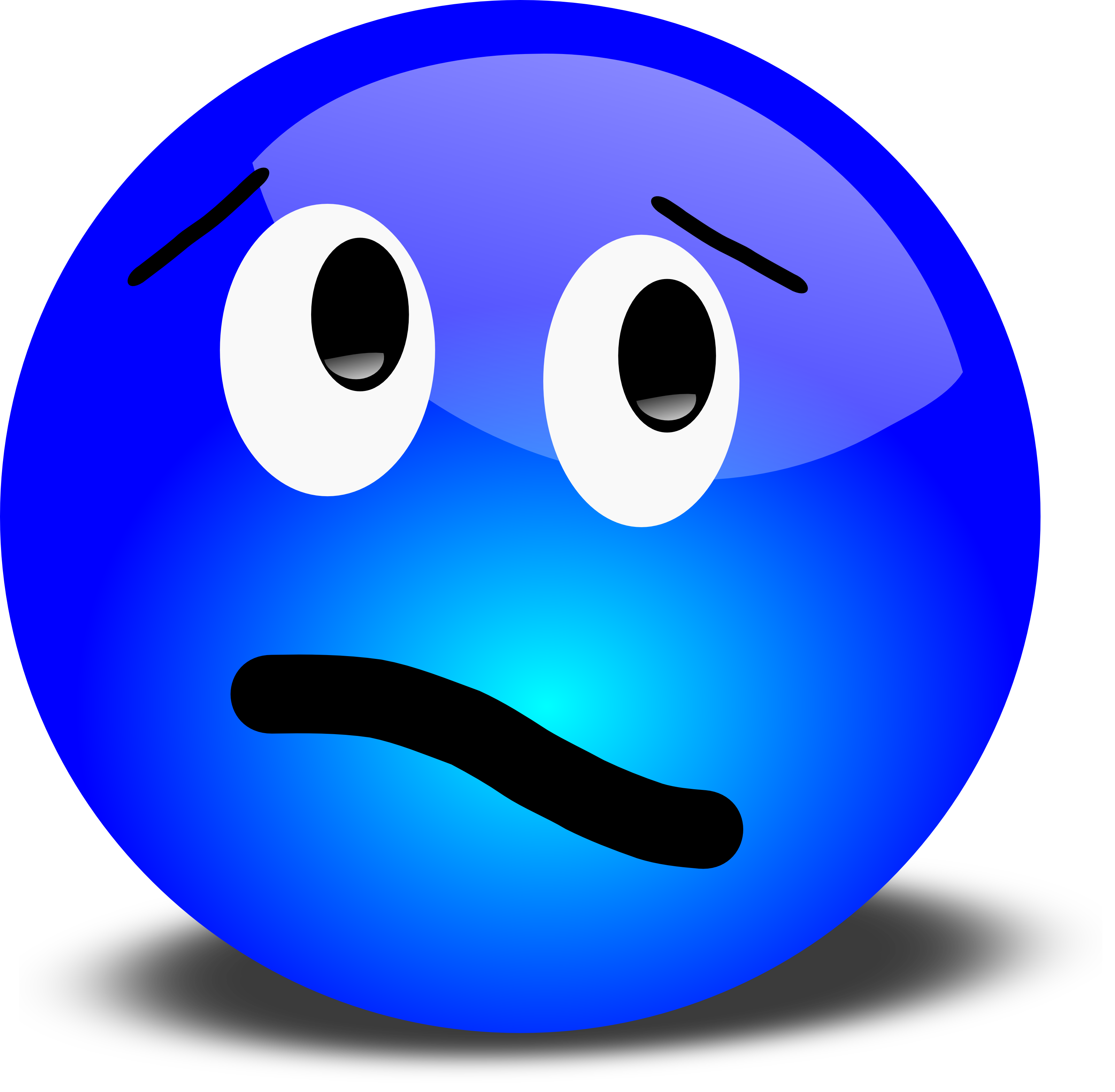 Confused Blue Smiley Free 3d Vector Clipart Illustration