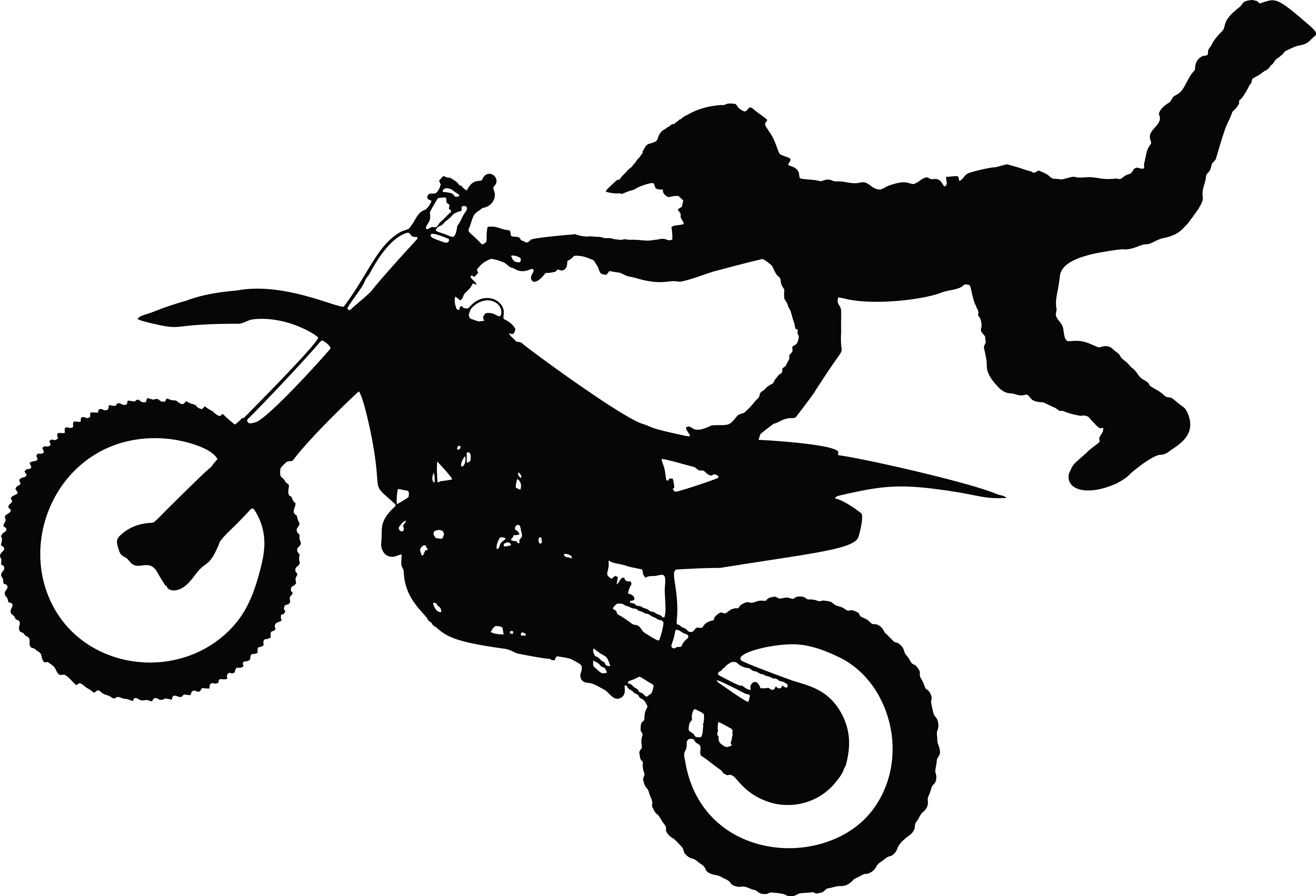 Free Clipart Of A Silhouetted Man Catching Air on a Dirt Bike for Racing Motorcycle Clipart Black And White  70ref