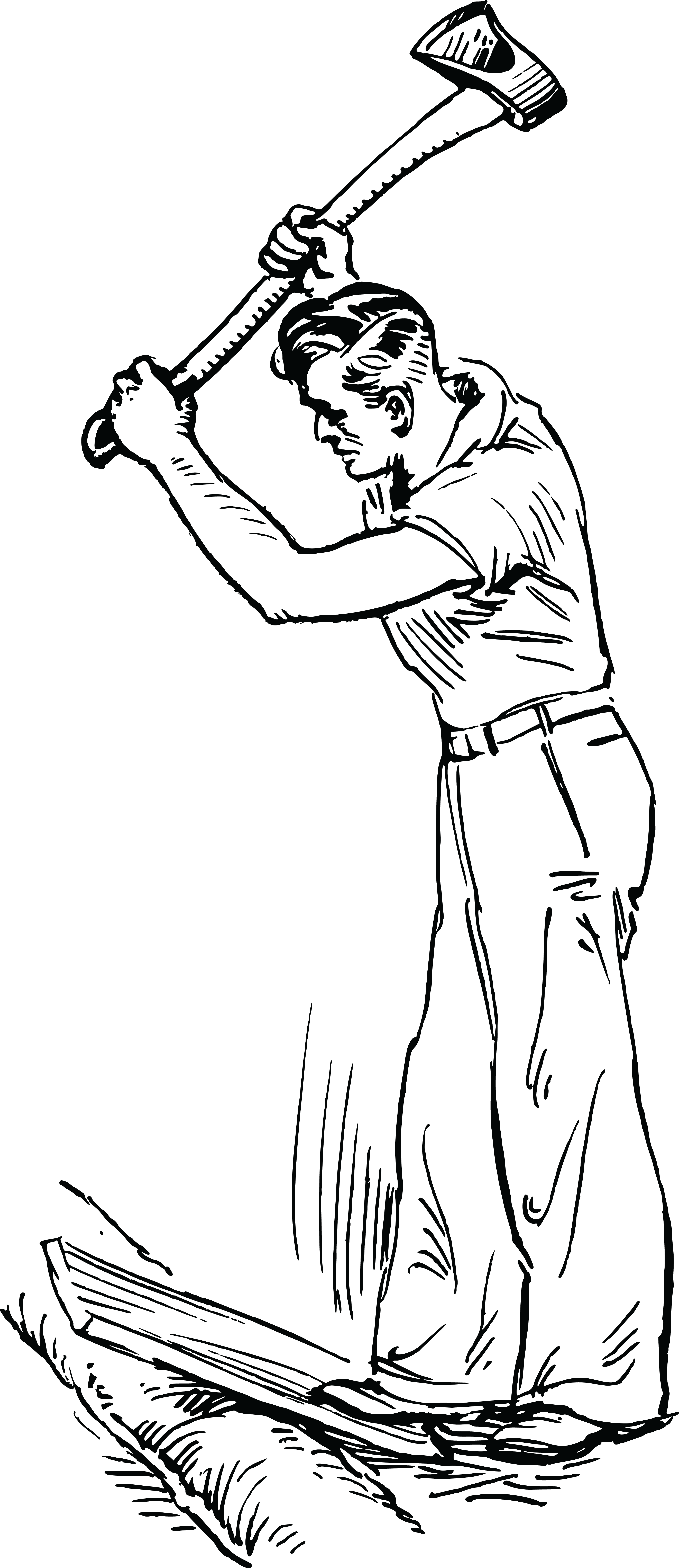 Free Clipart Of A Man Cutting Wood With An Axe