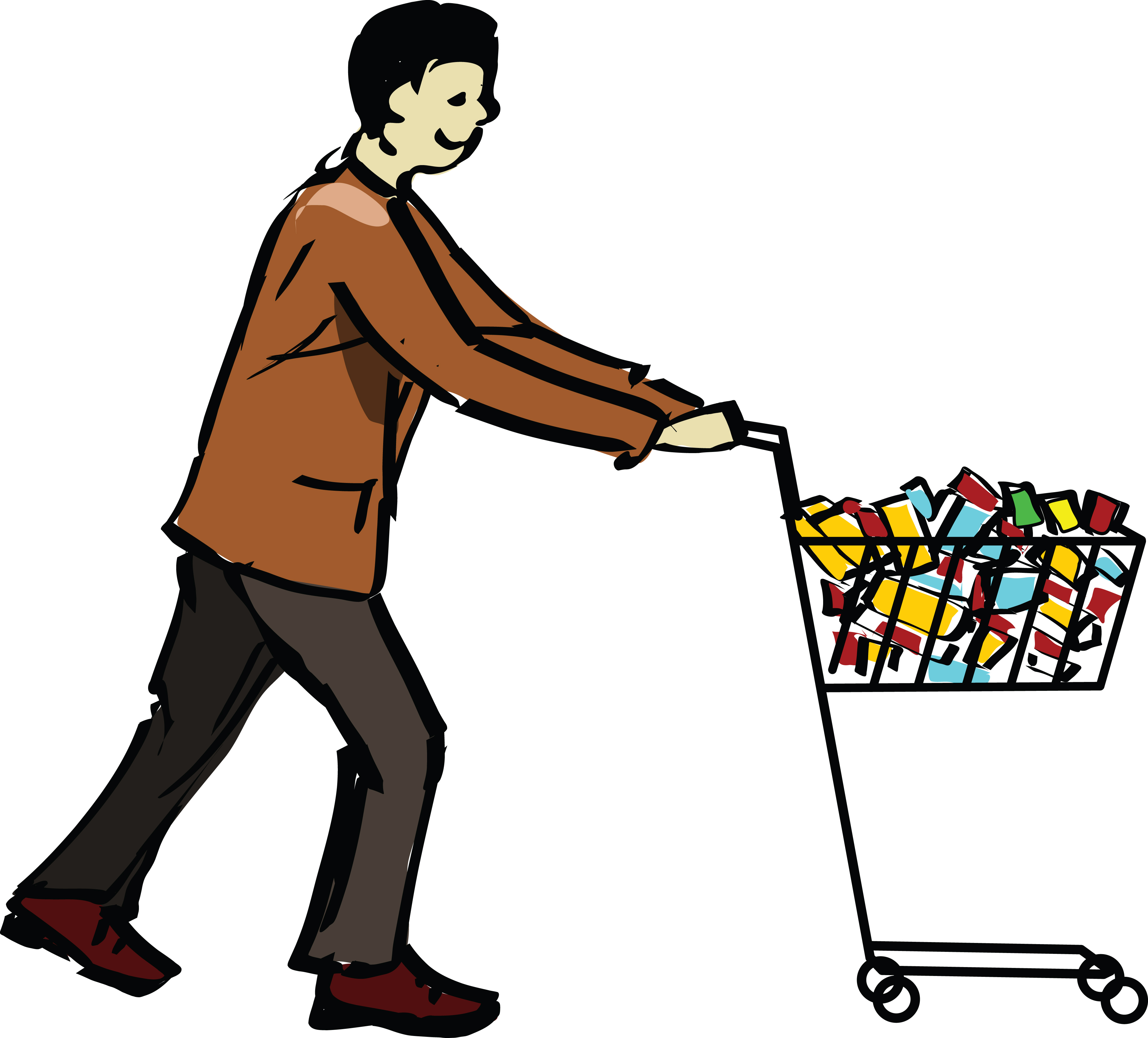free clipart of a man pushing a grocery shopping cart rh free clipartof com grocery shopping clipart free grocery shopping list clipart