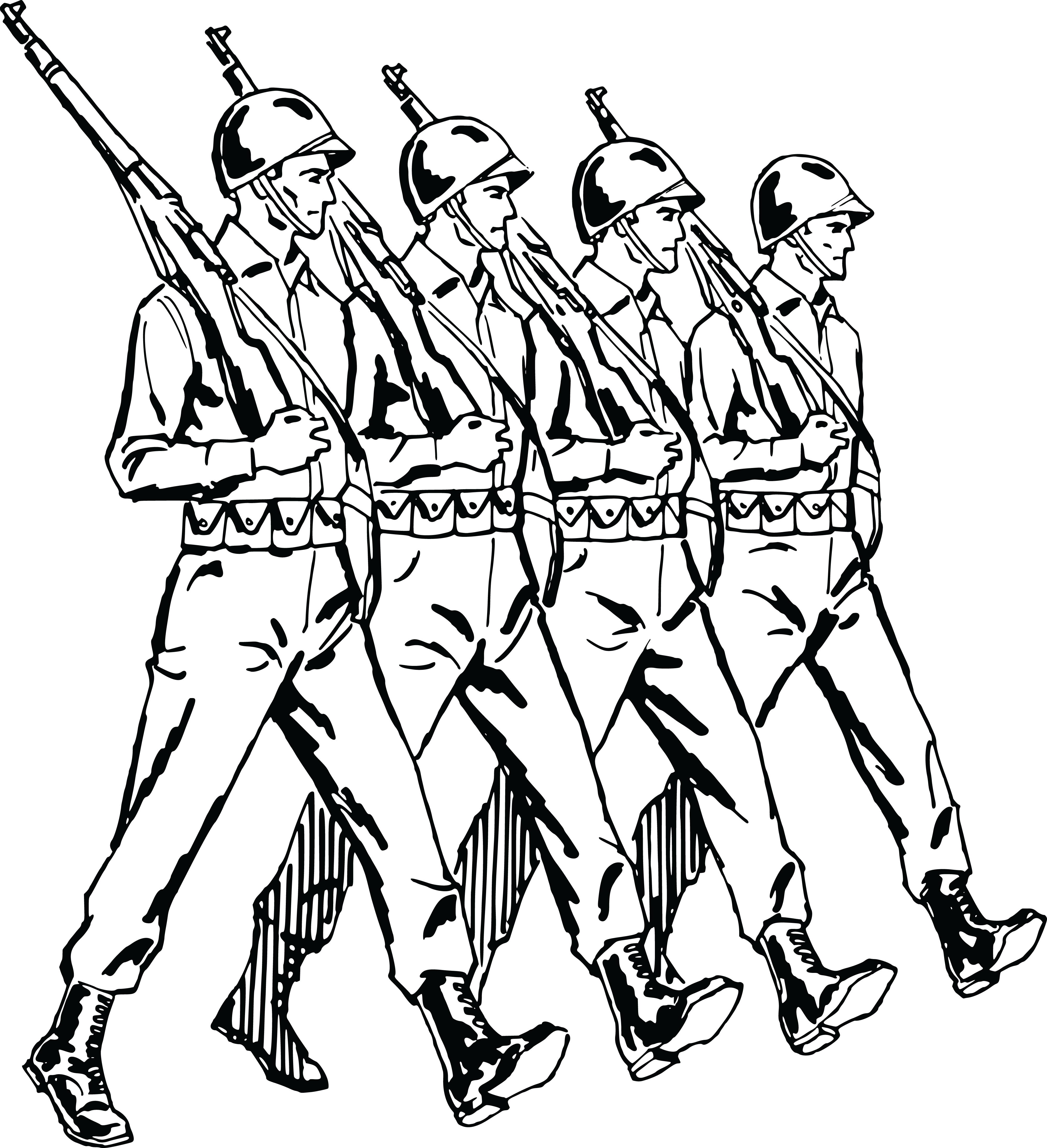 Free Clipart Of A Group Of Marching Army Soldiers