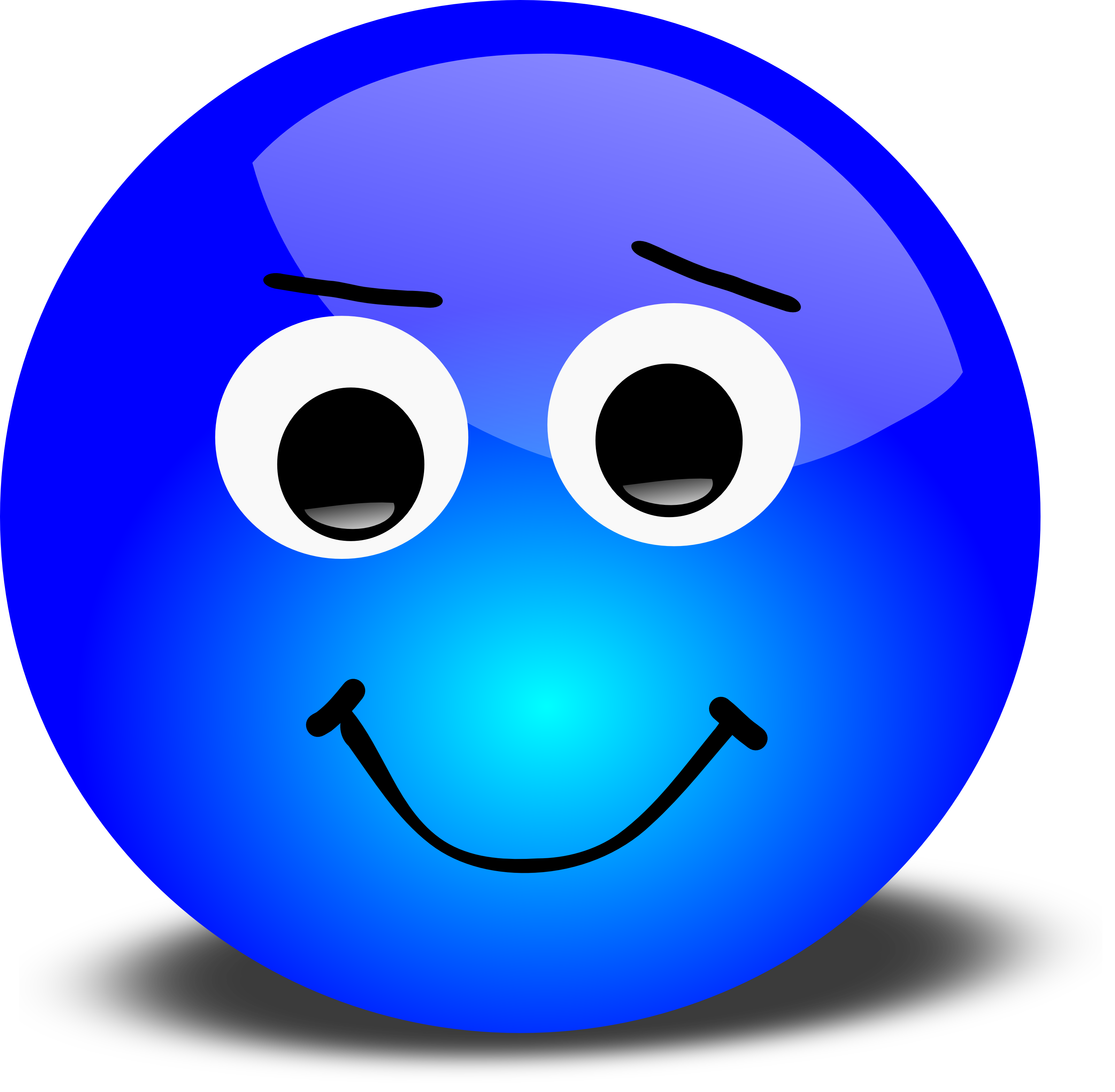 Free 3d vector graphic of a blue 3d smiley portraying an ummm ok ...