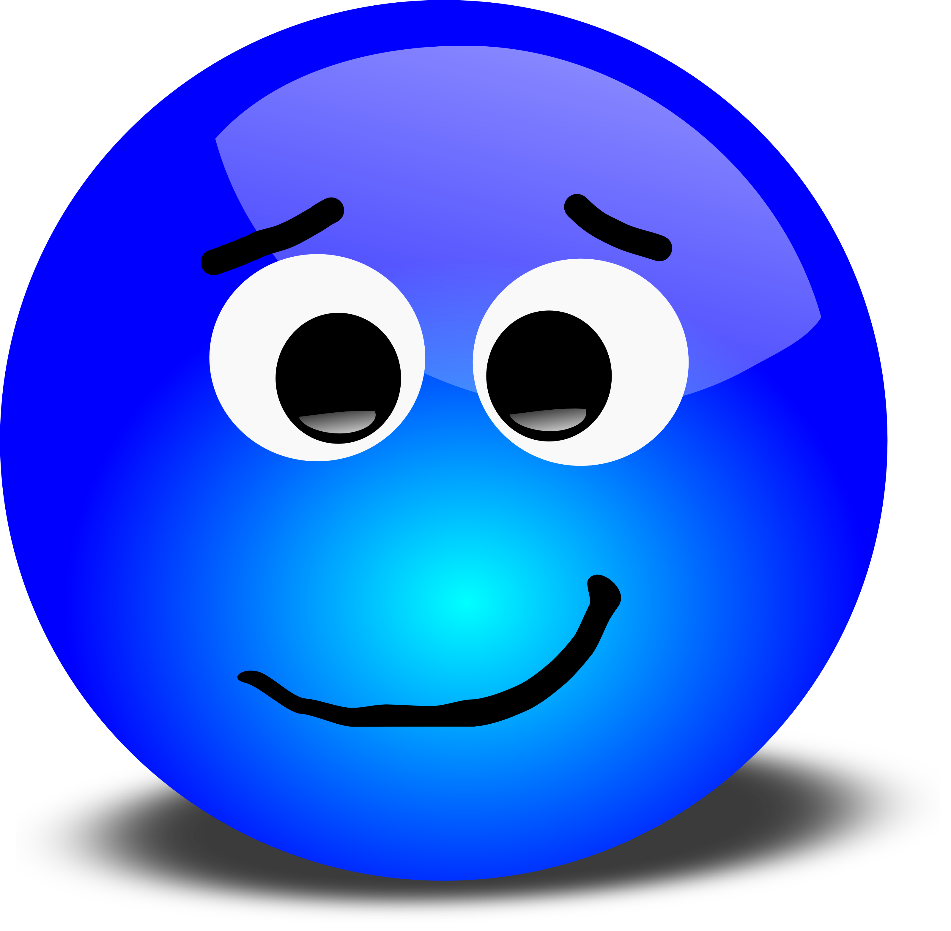 Free 3d Apprehensive Smiley Face Clipart Illustration