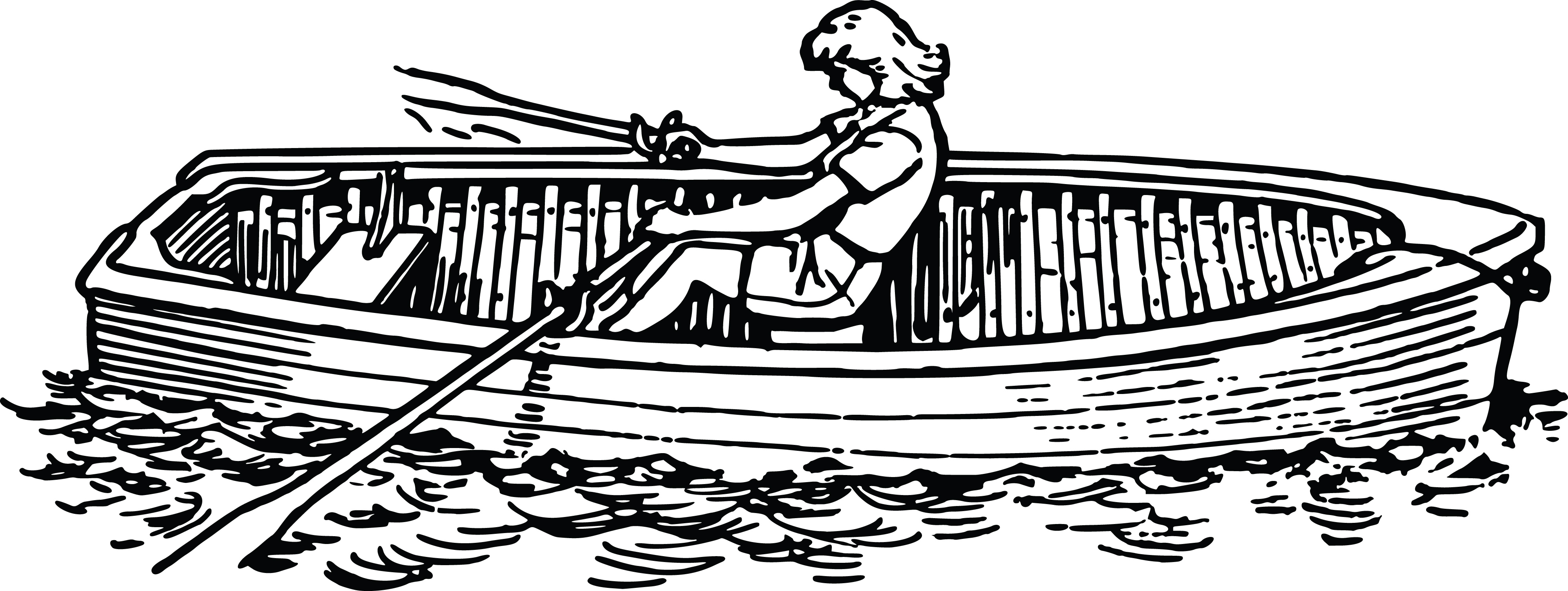 Free Clipart Of A Woman Rowing Boat