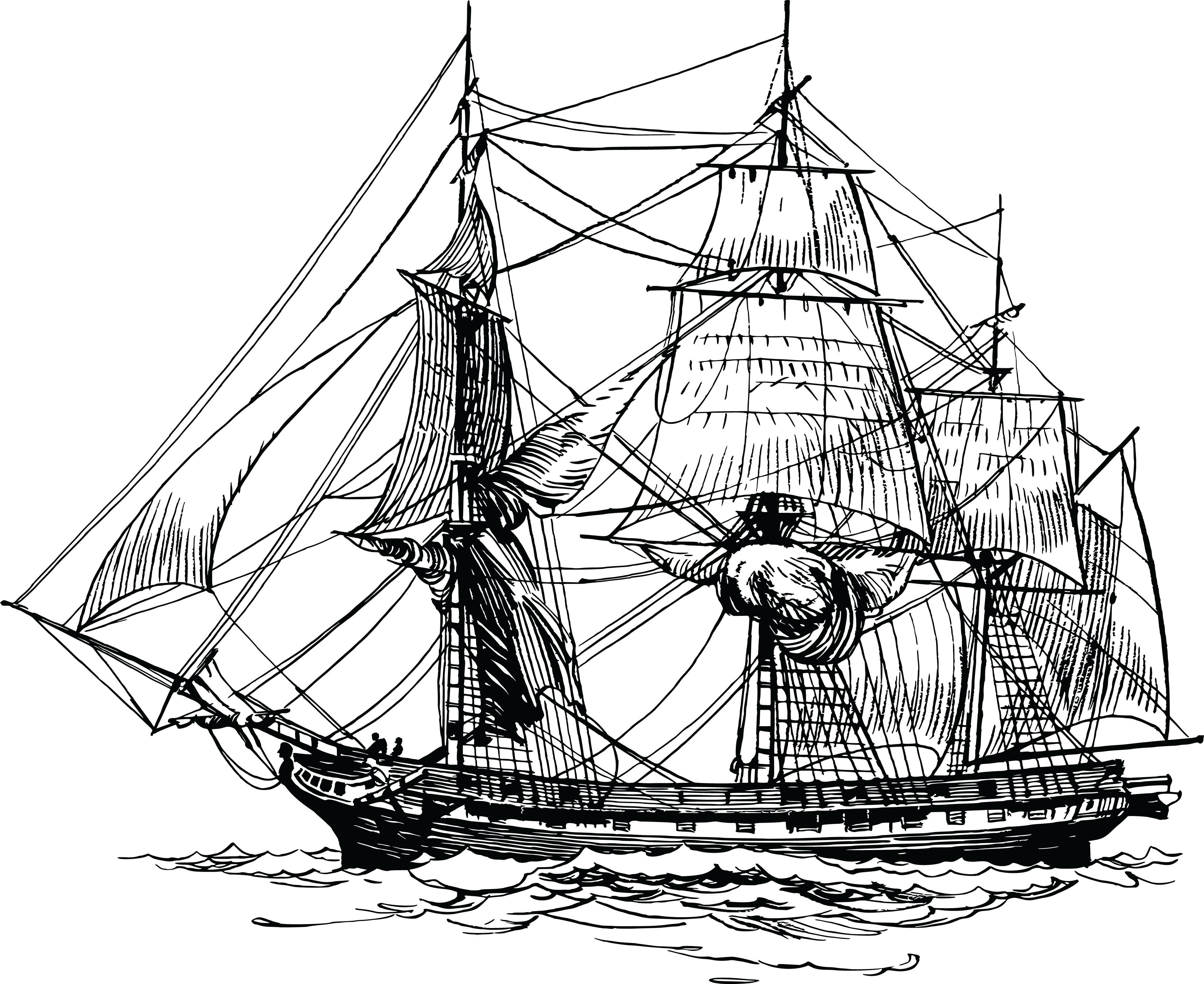 free clipart of a frigate ship