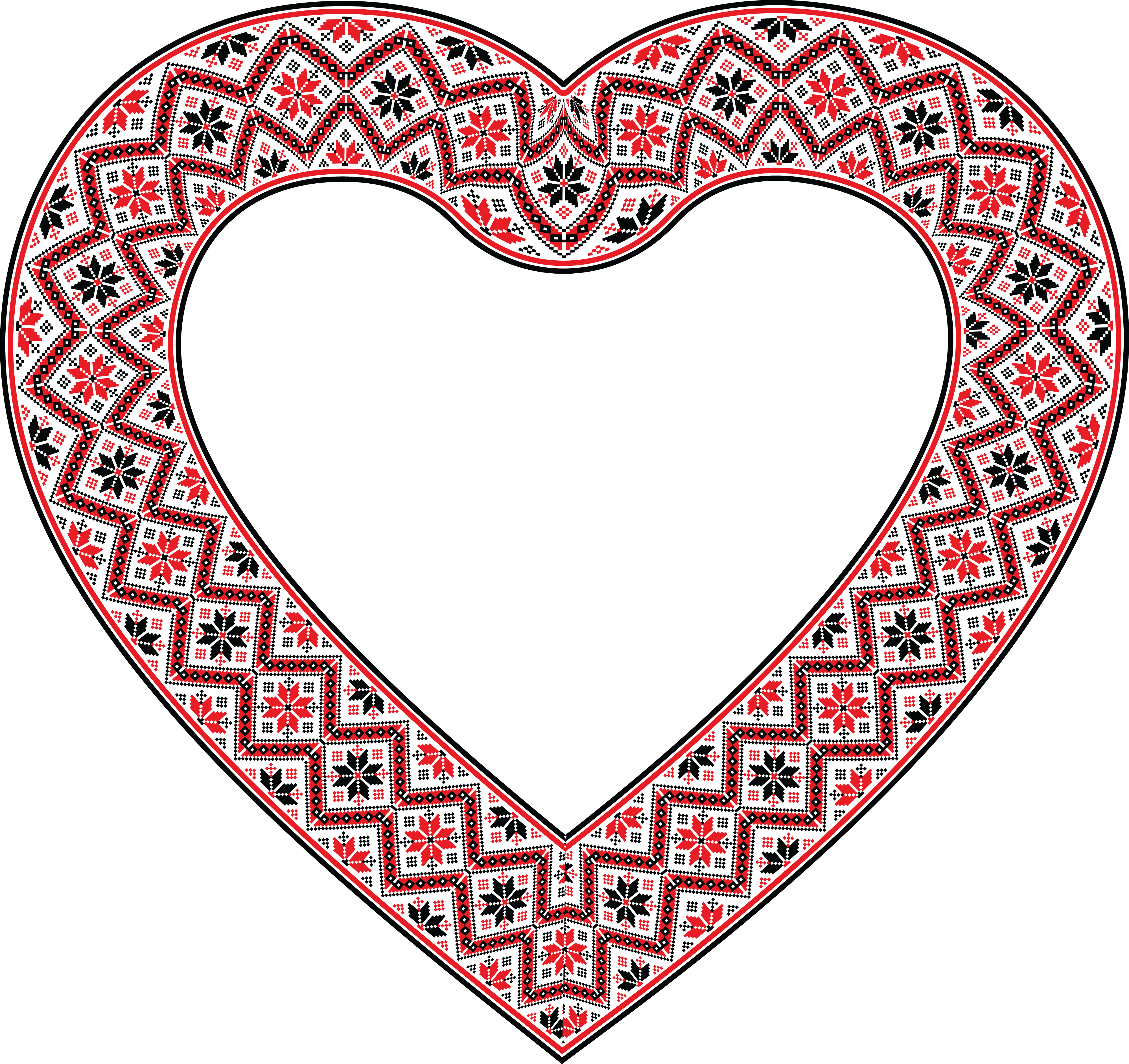 Free Clipart Of A patterned embroidery heart frame