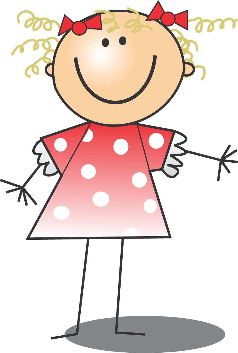 Free clip art of a happy blond girl in a pink polka dot dress by 00019