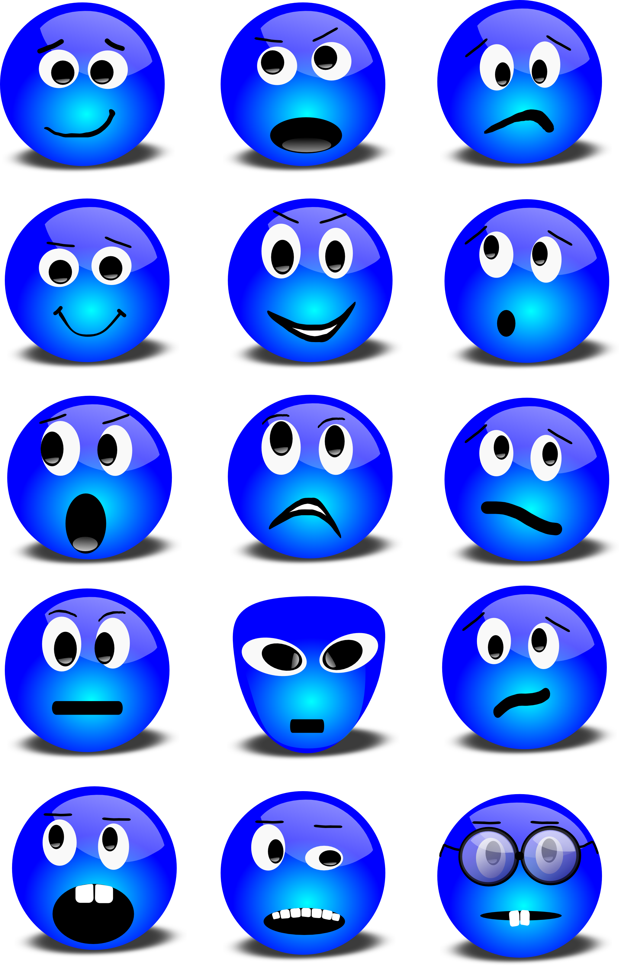 Free vector graphic featuring a series of blue 3d smiley faces.
