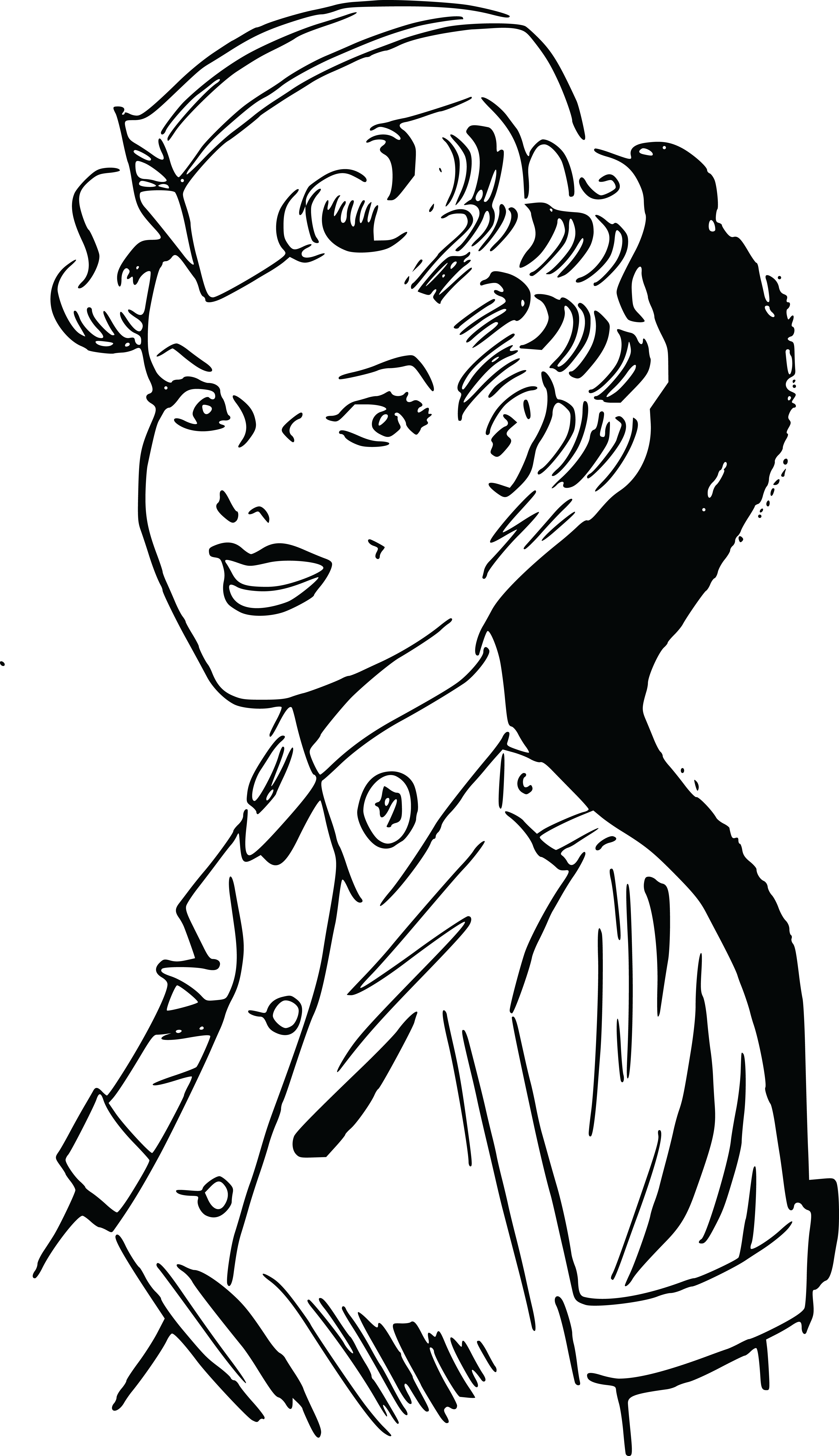 Free Clipart Of A Retro Military Woman