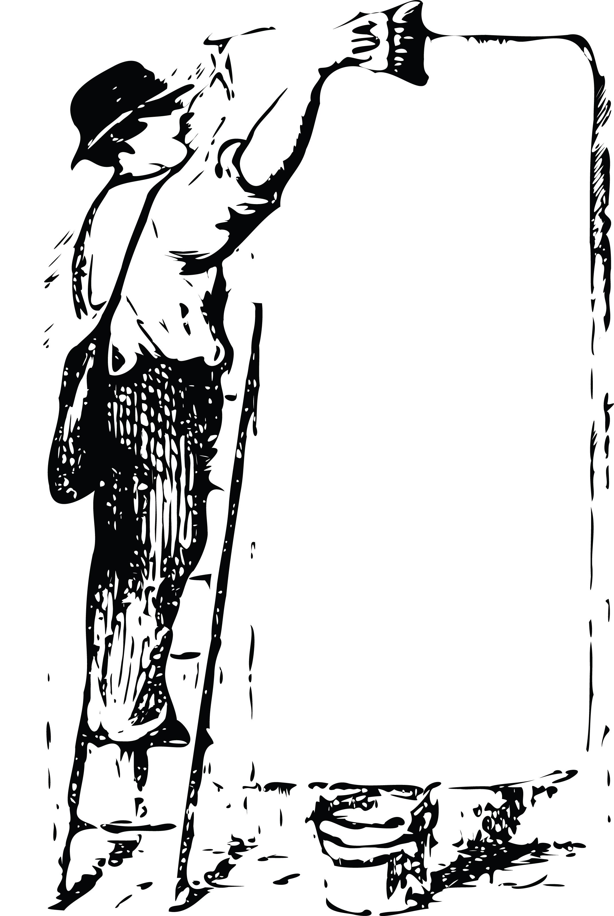 Free Retro Clipart Of Man Preparing Public Notice Sign